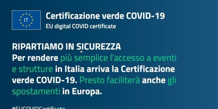 GREEN PASS – Certificato per gli eventi, visitare Rsa e circolare in Europa